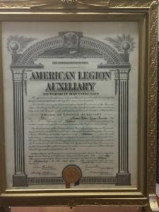 Our original charter, as reissued by the National American Legion Auxiliary