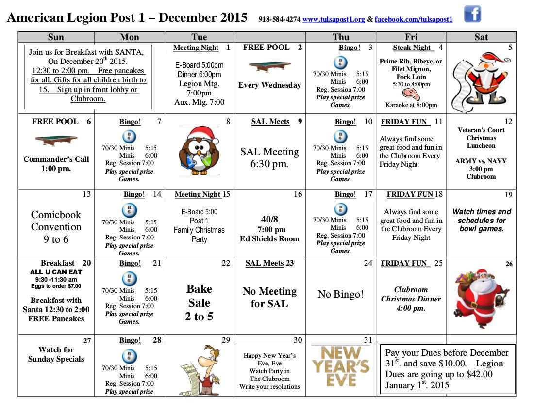 December 2015 Events Calendar