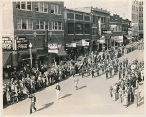 Armistice Day Parade 1937 - University of Tulsa Band (note flag carried by lead marcher)