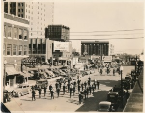 1937 Armistice Day Parade # 3 - The Color Guard, Joe Carson Post Commander and Post 1 Band marching away
