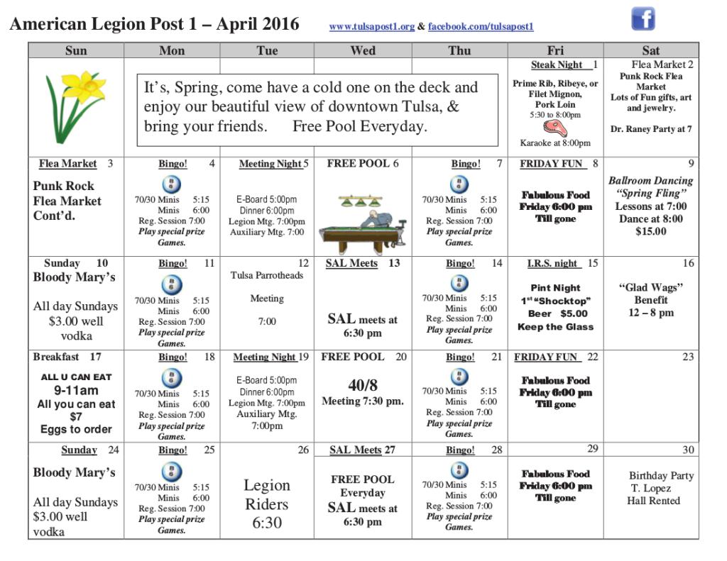 April 2016 Events Calendar!