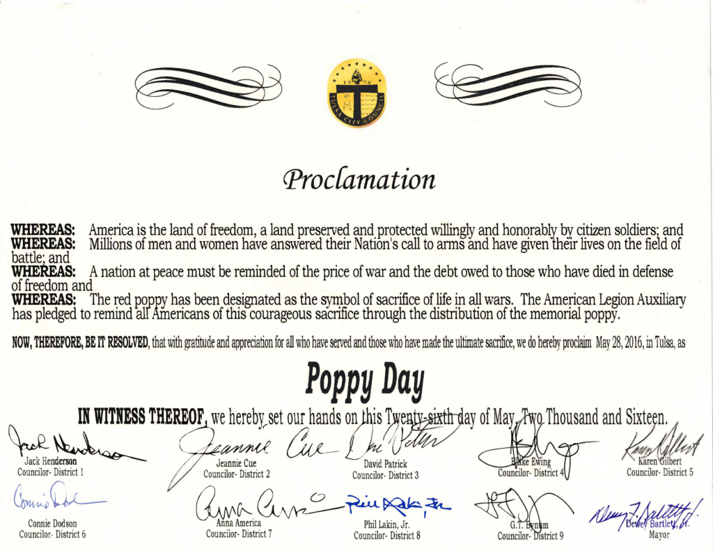 Mayor and City Council Proclaim Saturday, May 28th as Poppy Day