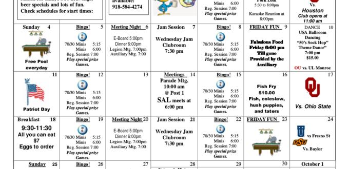 September 2016 Events Calendar